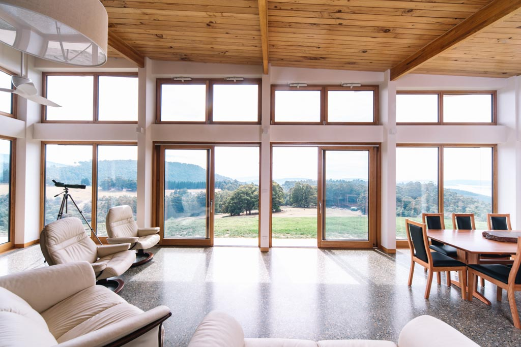 Picture of the Tuft house living room and view beyond